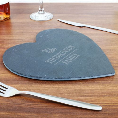 Personalised Family Slate Heart Placemat